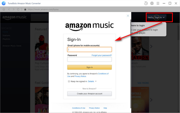 Log in Amazon Music unlimited